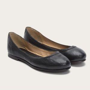 Frye Carlson Ballet Flat Black Leather